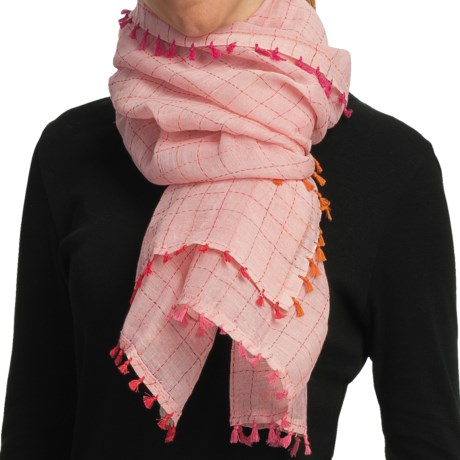 Asian Eye Cabo Scarf - Cotton-Linen (For Women) in Pink