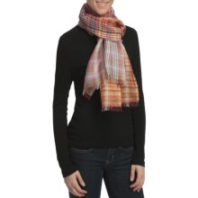 Asian Eye Calypso Plaid Scarf - Cotton-Linen in Orange - Closeouts