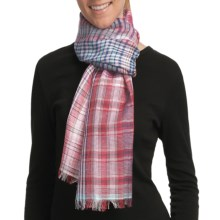 Asian Eye Calypso Plaid Scarf - Cotton-Linen in Red - Closeouts