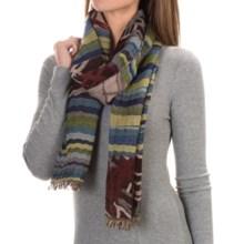 Asian Eye Element Scarf - Wool-Modal (For Women) in Blue/Black - Closeouts