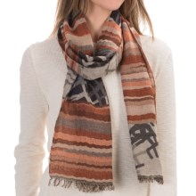 Asian Eye Element Scarf - Wool-Modal (For Women) in Brown/Black - Closeouts