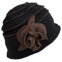 Asian Eye Elizabeth Bucket Hat - Boiled Wool (For Women) in Black/Stone - Closeouts