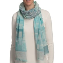 Asian Eye Escala Cotton Jacquard Scarf in Aqua - Closeouts