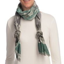 Asian Eye Escala Cotton Jacquard Scarf in Gray - Closeouts