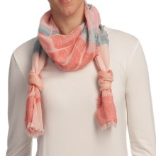 Asian Eye Escala Cotton Jacquard Scarf in Peach - Closeouts