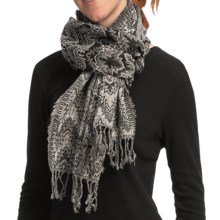 Asian Eye Fuego Wool Flame Stitch Scarf (For Women) in Gray/Black - Closeouts