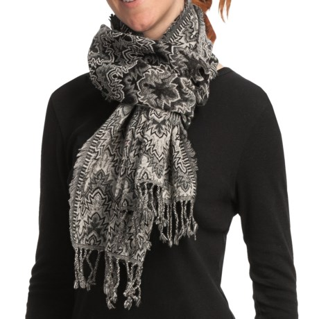 Asian Eye Fuego Wool Flame Stitch Scarf (For Women) in Gray/Black