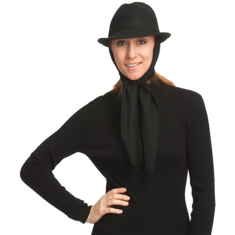 Asian Eye Harlow Classic Fedora Hat with Attached Scarf - Wool Felt (For Women) in Black