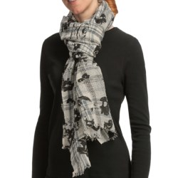 Asian Eye Harmony Rose Scarf - Wool (For Women) in Gray/Black