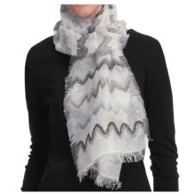 Asian Eye Heartbeat Scarf - Linen-TENCEL® (For Women) in White - Closeouts