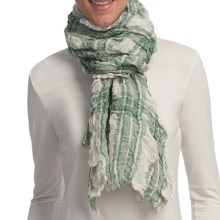 Asian Eye Indie Plaid Scarf - Cotton-Linen (For Women) in Green - Closeouts