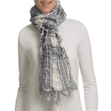 Asian Eye Indie Plaid Scarf - Cotton-Linen (For Women) in Grey - Closeouts