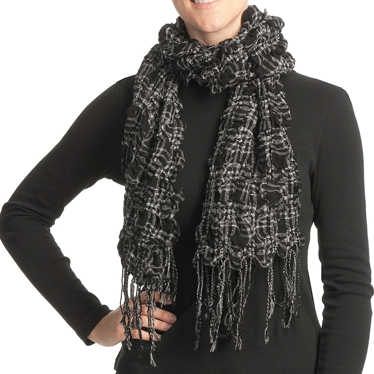 asian eye fruit scarf textured wool for