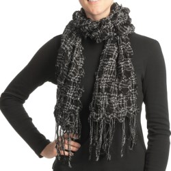 Asian Eye Juicy Fruit Scarf - Textured Wool (For Women) in Black/White