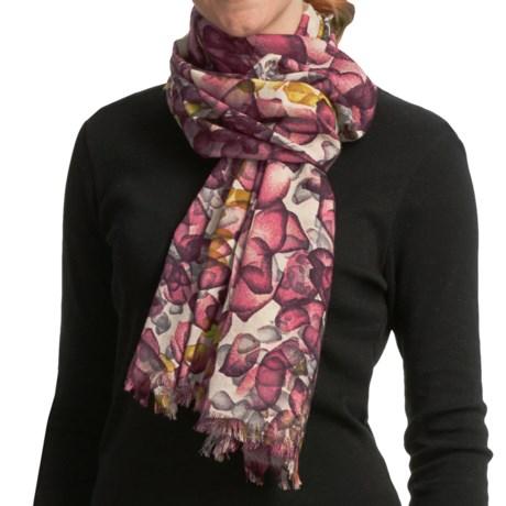 Asian Eye Kaleidoscope Scarf - Lightweight, Wool (For Women) in Red/Wine Multi