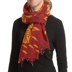 Asian Eye Kauai Scarf - Boiled Wool (For Women) in Red/Gold Multi