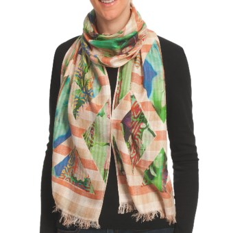 Asian Eye Lanai Scarf - Cotton Jacquard (For Women) in Beige