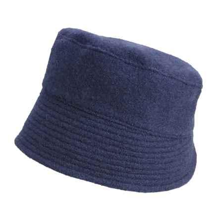Asian Eye Laurel Boiled Wool Bucket Hat - Flat Topped, Split Brim (For Women) in Navy - Closeouts
