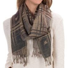 Asian Eye Loren Windowpane Wool Scarf (For Women) in Brown - Closeouts