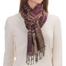 Asian Eye Loren Windowpane Wool Scarf (For Women) in Wine - Closeouts