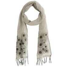 Asian Eye Magic Embroidered Circles Scarf - Linen (For Women) in Khaki - Closeouts