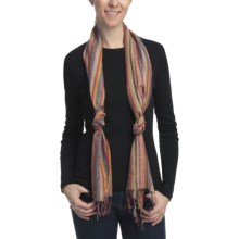 Asian Eye Mardi Gras Striped Scarf - Viscose in Brown - Closeouts