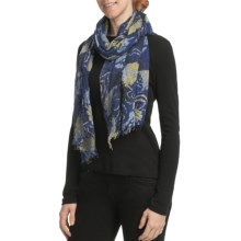 Asian Eye Melrose Floral Scarf - Lightweight, Boiled Wool (For Women) in Blue Multi - Closeouts