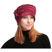 Asian Eye Nikki Fashionable Fleece Hat - Floral Accent (For Women) in Red - Closeouts