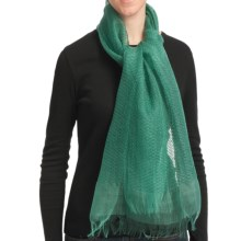 Asian Eye Pacific Sheer Woven Textured Scarf - Silk in Green - Closeouts