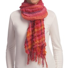 Asian Eye Picante Hi-Textured Striped Scarf - Cotton-TENCEL® in Red - Closeouts