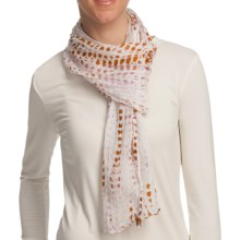 Asian Eye Ripple Handcrafted Scarf - Silk in Rose - Closeouts