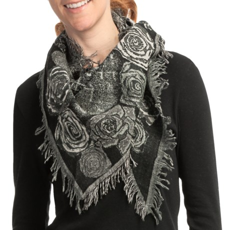 Asian Eye Rosa Triangle Scarf - Boiled Wool (For Women) in Black Multi