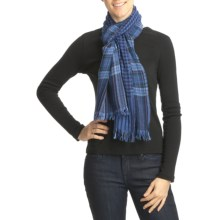 Asian Eye Scotty Heather Plaid-Check Scarf - Fine Wool, Reversible (For Women) in Blue - Closeouts