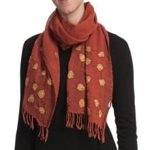 Asian Eye Sunny Scarf - Lightweight Wool (For Women) in Rust Multi - Closeouts
