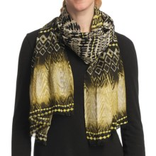 Asian Eye Tatu Scarf - Light Wool (For Women) in Gold/Brown Multi - Closeouts