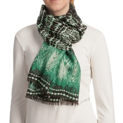 Asian Eye Tatu Scarf - Light Wool (For Women) in Green Multi