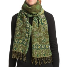 Asian Eye Tonga Boiled Wool Scarf - Reversible (For Women) in Green Multi - Closeouts