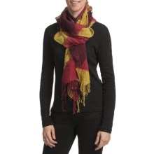 Asian Eye Waffle-Textured Scarf with Scalloped Edge - Wool (For Women) in Red/Mustard - Closeouts