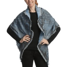 Asian Eye Windsor Scarf - Wool (For Women) in Blue Multi - Closeouts