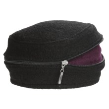 Asian Eye Zippy Wool Beret (For Women) in Black/Magenta - Closeouts