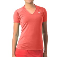 ASICS Athlete T-Shirt - V- Neck, Short Sleeve (For Women) in Coralicious - Closeouts