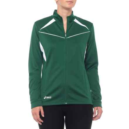 ASICS Cali Jacket - Full Zip (For Women) in Forest/White - Closeouts