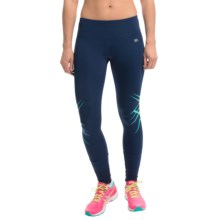 ASICS Fit-Sana Cuffed Tights (For Women) in Indigo Blue/Aqua Mint - Closeouts