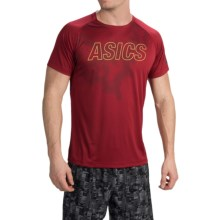 ASICS FujiTrail Graphic Shirt - Short Sleeve (For Men) in Deep Ruby - Closeouts