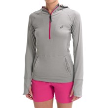 ASICS FujiTrail Hoodie - Zip Neck, Long Sleeve (For Women) in Heather Grey - Closeouts
