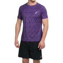 ASICS FujiTrail Shirt - Crew Neck, Short Sleeve (For Men) in Purple Acai Print - Closeouts