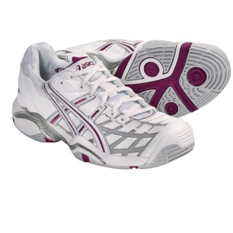Asics GEL-Challenger 8 Tennis Shoes (For Women) in White/Silver/Boysenberry