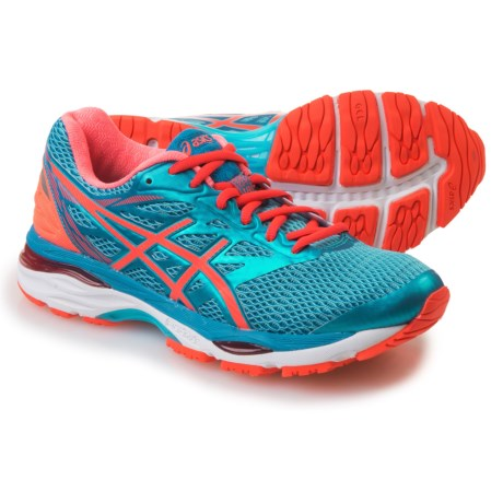 ASICS GEL-Cumulus 18 Running Shoes (For Women) in Aquarium/Flash Coral/Blue Jewel