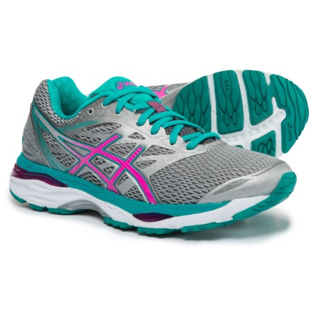 ASICS GEL-Cumulus 18 Running Shoes (For Women) in Silver/Pink Glow/Lapis