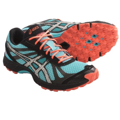 Asics Gel-FujiRacer Trail Running Shoes (For Women) in Aqua/Cement/Melon